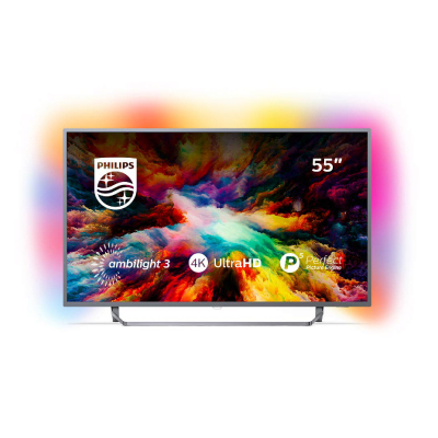 Philips Android™ Ambilight LED TV 55 55PUS7303  12 UHD 3840x2160p PPI-1600Hz HDR+ 4xHDMI 2xUSB LAN WiFi DVB-T  T2  T2-HD  C  S  S2, 20W2