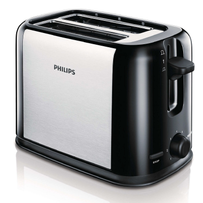 Philips Daily Collection Toaster HD2586 20 2 slot Compact Black silver, brushed metal2