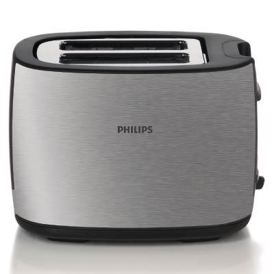 Philips Toaster HD2628 20 2 slot metal 2 function Brushed metal Wide slot2