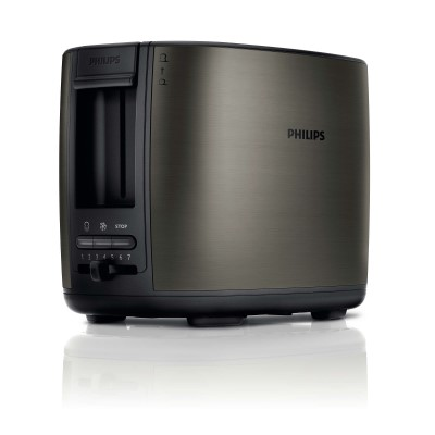 Philips Toaster HD2628 80 2 slot metal 2 function Brushed metal titanium Wide slot2