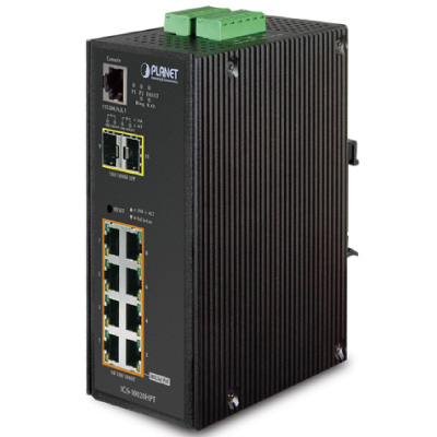 IP30 L2 / L4 SNMP Manageable 8-Port Gigabit POE+(AT) Switch + 2-