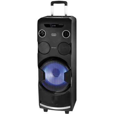 TREVI XF1750 XFEST AMPLIFIED TROLLEY SPEAKER, 120W, 2x microphones input 6.3mm, LED blue display2